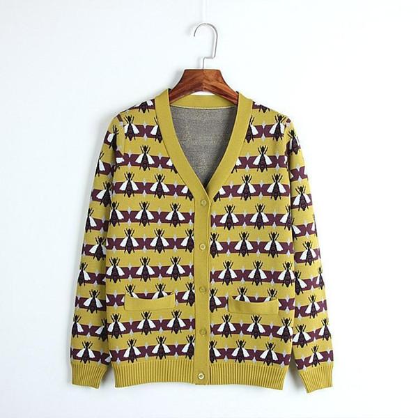 Incredibile 2019 Alien Runway Winter Cardigan Vintage strisce gialle ape Jacquard scollo a V manica lunga maglia maglione lavorato a maglia donne ponticello