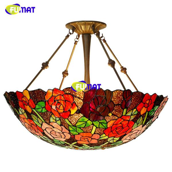 FUMAT led ceiling lamp led light lustre rose lampshade living room ceiling light for bedroom restaurant dining room-24 inches