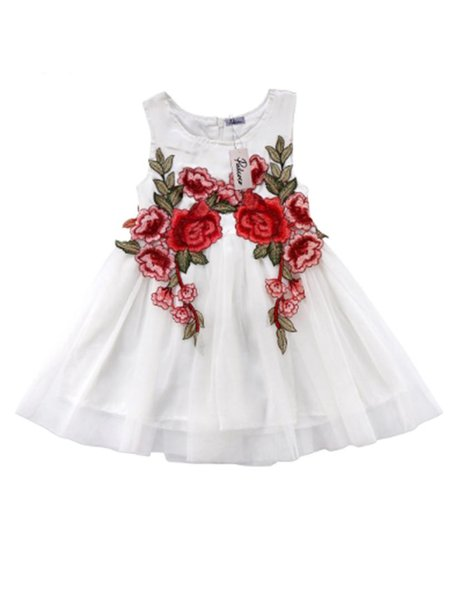 Toddler Kids Baby Girls Floral Embroidery Dress Party Sleeveless Round Collar Ball Gown Formal Dresses Tulle Sundress