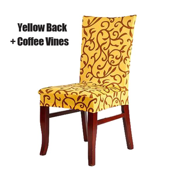 Yellow and Coffee Stretch Chair Cover