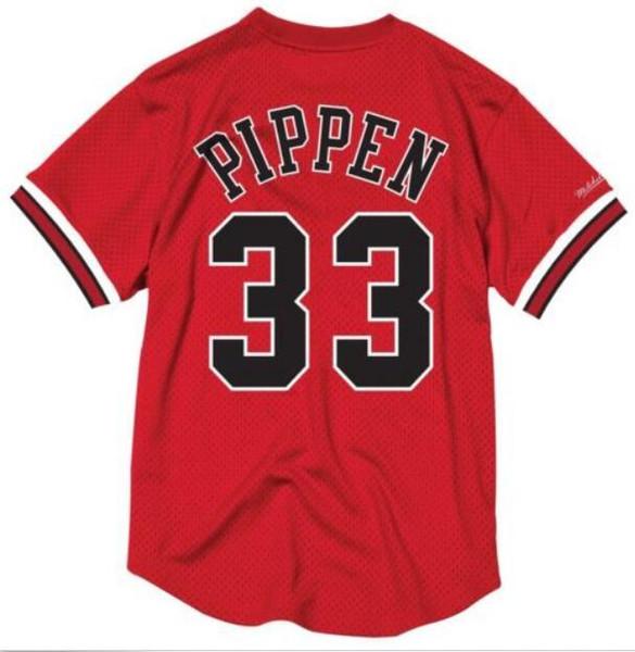 NCAA Retro Pas Cher Cousu # 33 Scottie Pippen Mitchell Ness Jersey Hommes Blanc Rouge Maillot Chemise Gilet T-shirt Maillots De Basket-ball