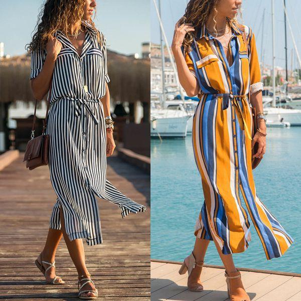 Woman Designer Dress Spring and Autumn Stripes Long High Waist Belt Ladies Chiffon Shirt Hot Style Women Dress Stripe Long Dress High Waist