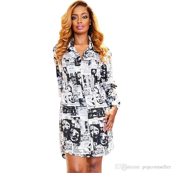 Compre Mujeres Diseñador De Verano Dresse Nuevo Vestido De Camisa De Impresión De Periódico Abstracto Europeo Y Americano Damas Vestido De Longitud