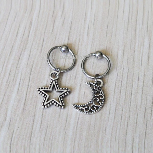 2pcs Stars and Moon cartilage upper ear post Earring Tragus Helix Piercing ,Helix jewelry