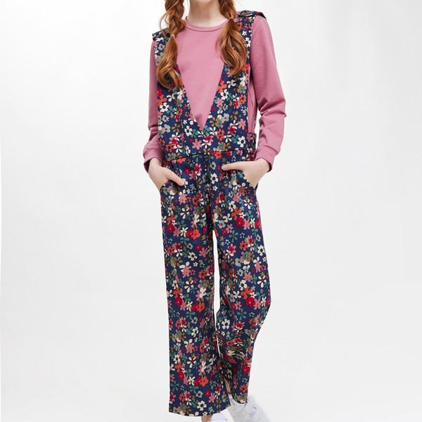 CupofSweet Floral Girls Overalls Pants& Long Sleeve Shirt Set Children Autumn Teenage Girls Trousers Kids Casual Pants Shirt Set