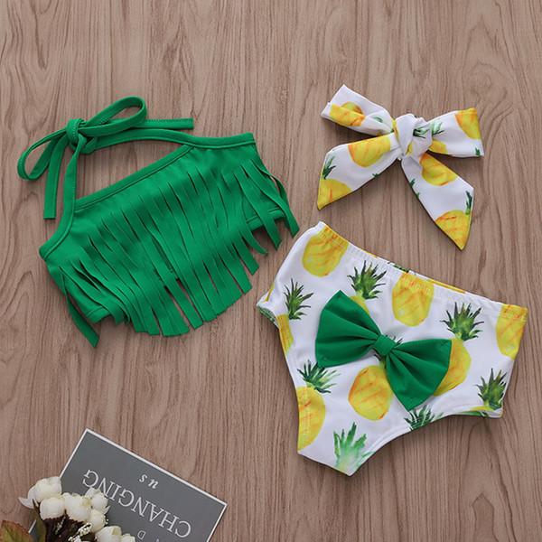 Costume da bagno a tre pezzi con nappe e nappe a tinta unita Completo a forma di bikini con nappine e ananas neonato