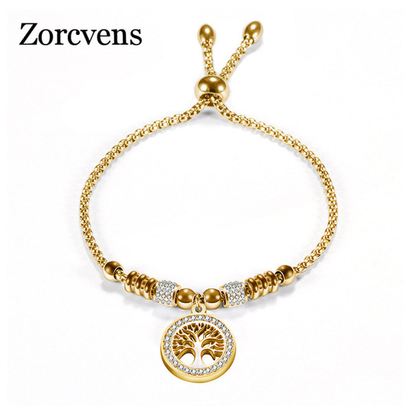 Accessori Ewelry Zorcvens Vintage Gold Gold Argento Colore Acciaio inox Acciaio inox Braccialetto con albero di vita Pendente Bracciale a sfera di cristallo per ...
