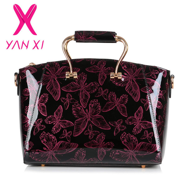 YANXI 2016 New Patent leather Butterfly pattern luxury Handbags Women Casual Tote bag Ladies Printing Shoulder Messenger Bags