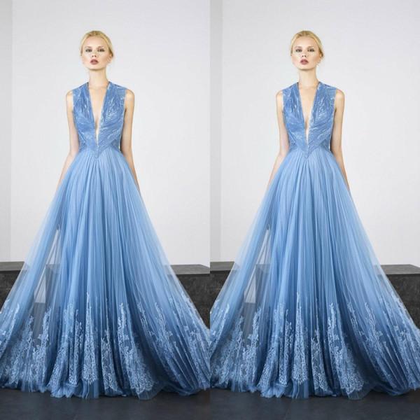 Tony Ward 2019 robes de soirée élégantes sexy col en V profond sans manches en dentelle Appliques robes de bal longueur de plancher une ligne occasion spéciale robe