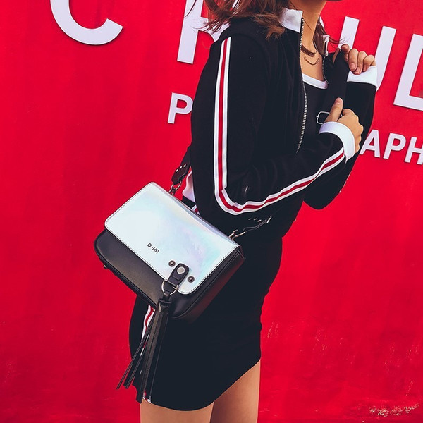 Decent2019 Laser Bag Woman Concise Tassels Tide Chic Small Square Package All-match Cable Satchel