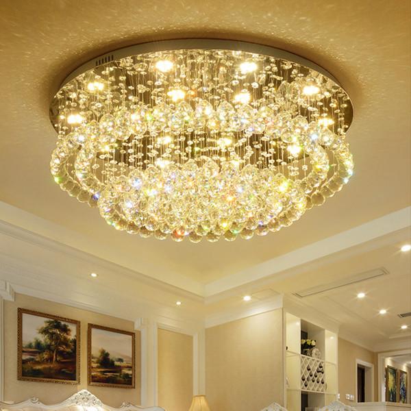 Modern crystal chandelier lights flush mount luxury ceiling crystal chandeliers lighting round led ceiling lamps for living room bedroom