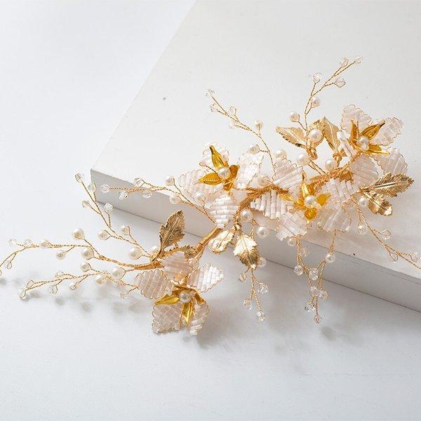 Корейская Женщина Золото Hairbands Для Невест Ручной Цветок Повязки Свадебные Тиара Головной Убор Выпускного Вечера Аксессуары Для Волос