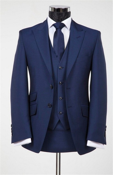 Dark Blue Groomsmen Custom Made Groom Tuxedos Men Suits Wedding Prom Best Man Blazer 3 Pcs (Jacket+Pants+Vest+Tie)