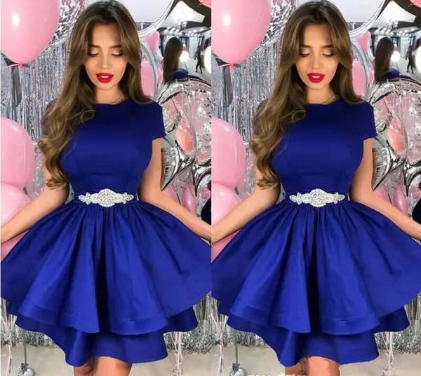 Setwell 2019 Kraliyet Mavi Jewel A-line Kokteyl Elbise Kısa Kollu İki Katmanlı Kısa Mini Parti Balo elbise Ile Boncuklu