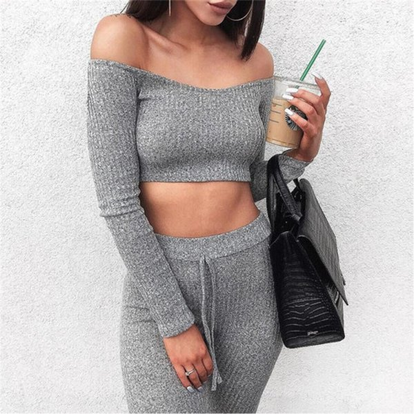 2Pcs Women Knit Tracksuit Fashion Ladies Autumn Clothes Sets Sexy Off Shoulder Crop Tops Stretchy Pants Sets Knitted Casual Suit