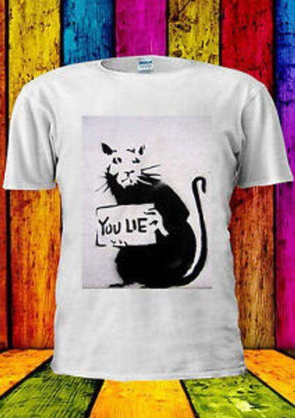 Бэнкси Маус Rat You Lie Funny Wall футболка Жилет Майка Мужчины Женщины Унисекс 619