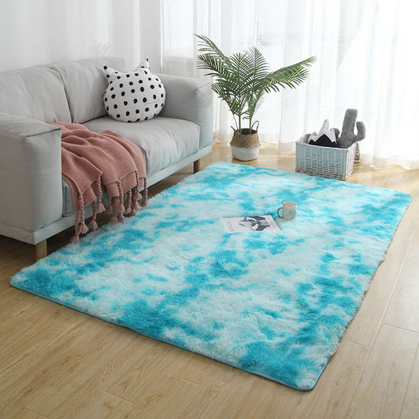 Nordic Sofa Bed Covered With Carpet Living Room Bedroom Long Hair Tie Dyed  Gradient Carpet Essential Home Textile Products Discount Area Rugs Carpet  ...