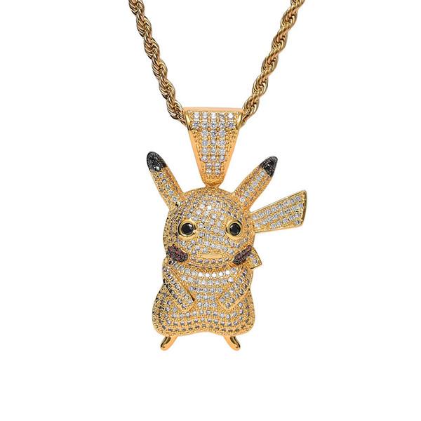 Hip Hop CZ Taş Kaplamalı Bling Bling Buz Out Altın / Gümüş Renk Sevimli Karikatür Pikachu Kolye Kolye Erkek Kadın Takı Hediye