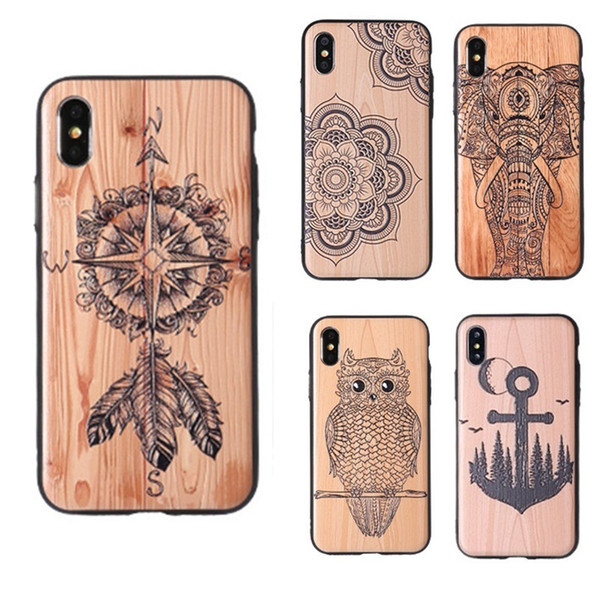 Wood Pattern Design Hybrid TPU + PC Phone Case For iPhone XS MAX XR Wooden Carved Pattern Print Protector Back Cover For iPhone X 8 7 6 Plus
