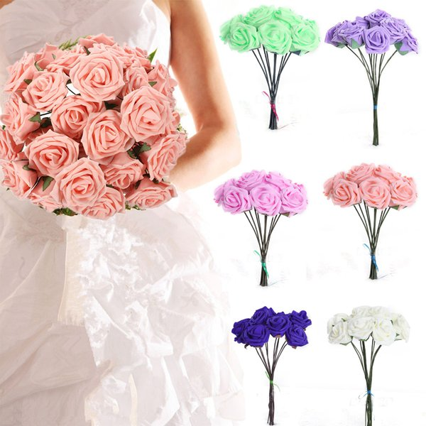 decorating food with Hot Wedding Bridal Bridesmaid Bouquet 10 Artificial Foam Rose Decorations decorating food with flowers