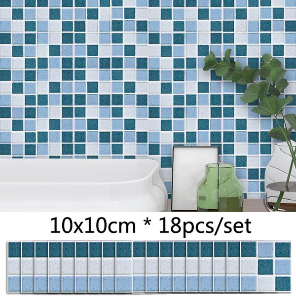 Blue Grey Marble Style Mosaic Tile Sticker Bathroom Kitchen DIY Decor Waterproof Wall Sticker Self adhesive Vinyl Stickers