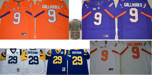 2019 Clemson Tigers 9 Wayne Gallman College Mens Vintage Los Angeles 99 Aaron Donald 29 Eric Dickerson Stitched American Elite Football Jerseys From