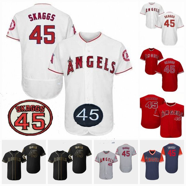 45 Maglia Tyler Skaggs Los Angeles Baseball Angels con patch Skaggs 2019 Edizione d'oro Iconic Player Memorial Day 150th Anniversary Patch