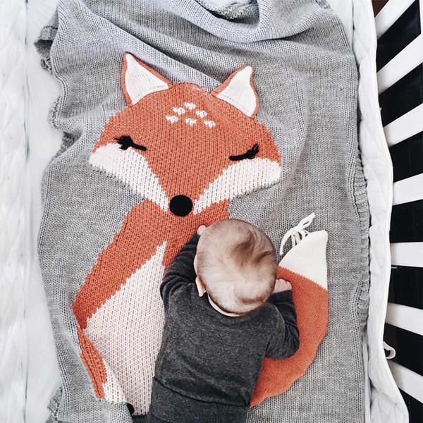 3 cores 110 x73 cm cobertores para dormir do bebê cobertor de orelha crianças fio de lã de malha raposa cobertor tapete de praia toalha de crochê panos m320
