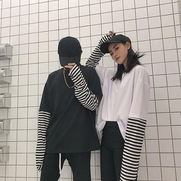 Polera Mujer 2019 Kadın Moda Tee Gömlek Kore Tarzı Ulzzang Harajuku Yanlış Iki Parçalı Çizgili Tişört Kadın Uzun Kollu Üst SH190828
