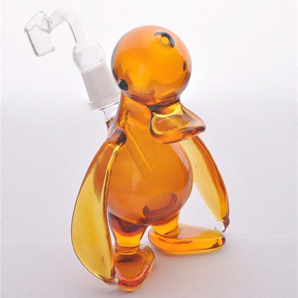 Ámbar Regalo Pato pequeño para fumar Pipa Imágenes reales 100% Dab Plataformas de aceite Difusa Sistema de mano de mano Mini Cristal Bongs Tuberías de agua Cachimba