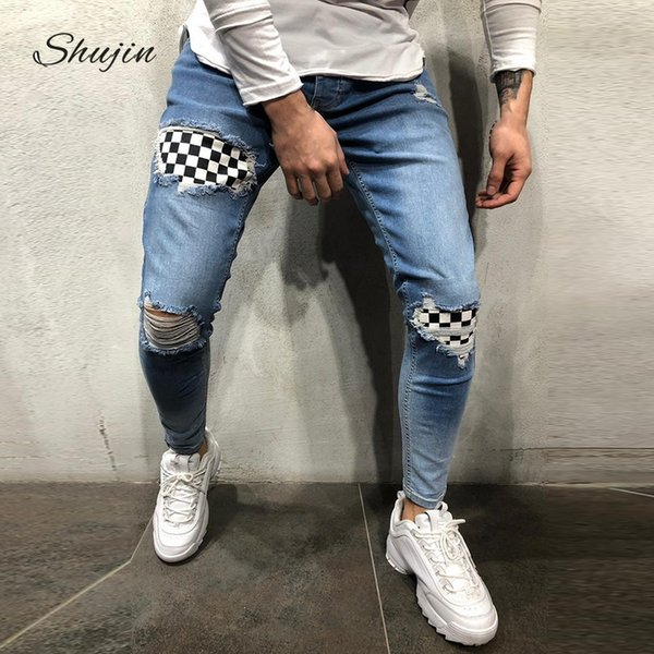 Cotton Jean Men's Pants Vintage Hole Cool Trousers for Guys 2019 Summer Europe America Style Plus Size 3XL ripped jeans Male