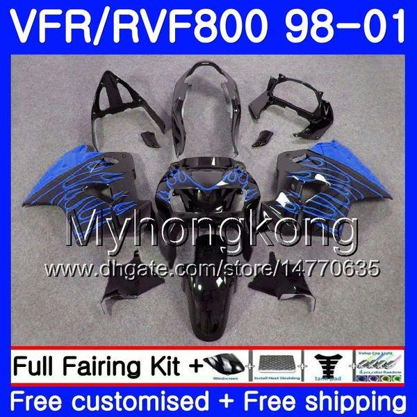 Body For HONDA Interceptor VFR800R Flammes bleues neuves VFR800 1998 1999 2000 2001 259HM.23 VFR 800RR VFR 800 RR VFR800RR 98 99 00 01 Kit de carénage