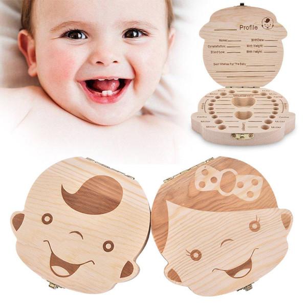 Tooth Box Portuguese Poland English Italy Spanish Turkey Dutch Greece Wood Storage Box For Baby Organizer Box For Milk