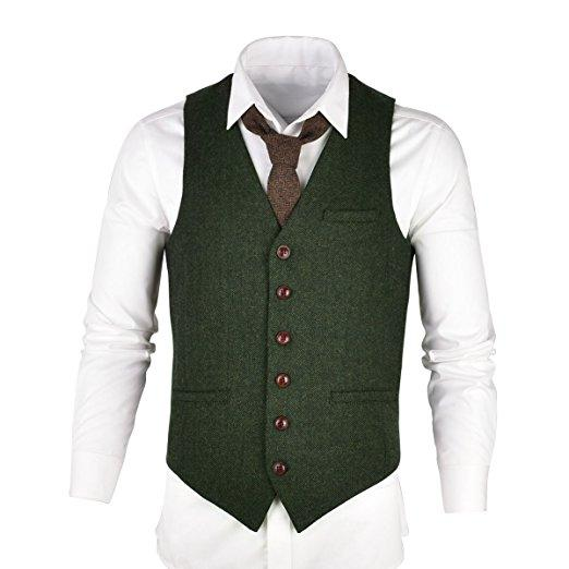 High Quality Groom Vests Green Groomsmens/Best Man Vest Custom Made Size and Color Three Buttons Wedding/Prom/Dinner Waistcoat M1295