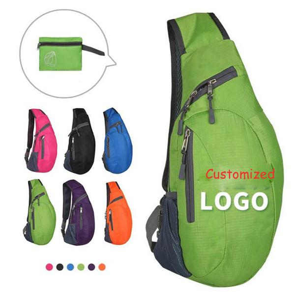 Kundenspezifische Logo Männer Brusttasche Frauen Männer Unisex Lässige Faltbare Rucksack Reise Im Freien Sport Taschen Studenten Tag Packs