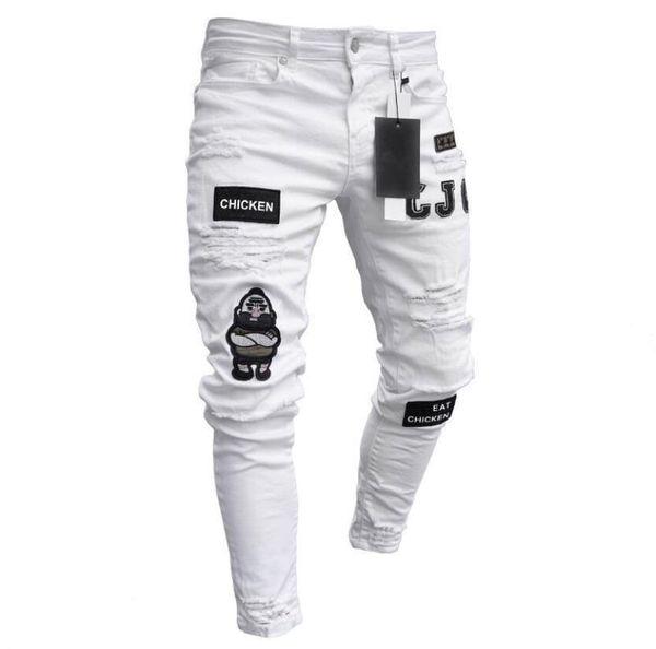 Zipper Jeans for Men Fashion Knee Hole Cerniera con apertura sul cavallo Pantaloni da uomo Lettere Cartone animato ricamo pantaloni decorativi