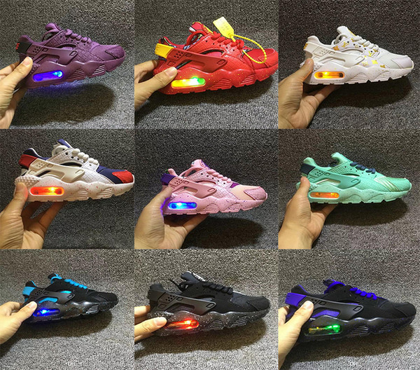 Fashion Flash Lighted Kids Air Huarache Children Running Shoes Infant Huaraches Outdoor Toddler Athletic Boy Girls Sneaker 26-35