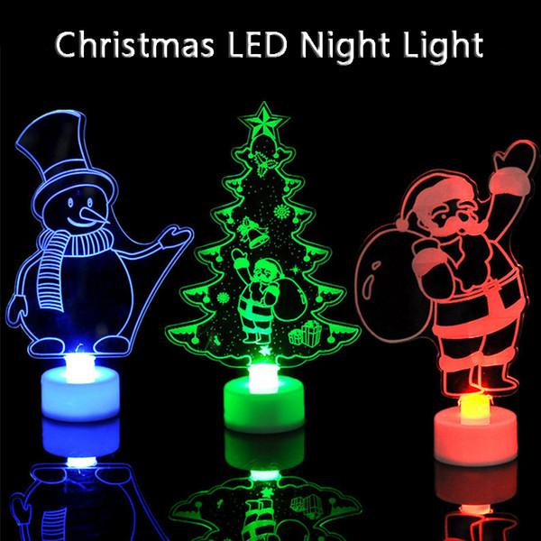 LED Noite de Natal Luz criativa do presente Árvore de Natal colorida do boneco de neve Papai Noel Noite Lamp Xmas Decoração DBC VT1066