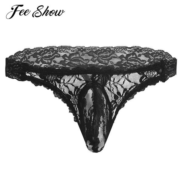 섹시 게이 남성 속옷 시시 란제리 레이스 꽃 서류를 통해 볼 수 벌지 파우치가있는 G 스트링 로우 라이즈 G 끈 팬티 속옷