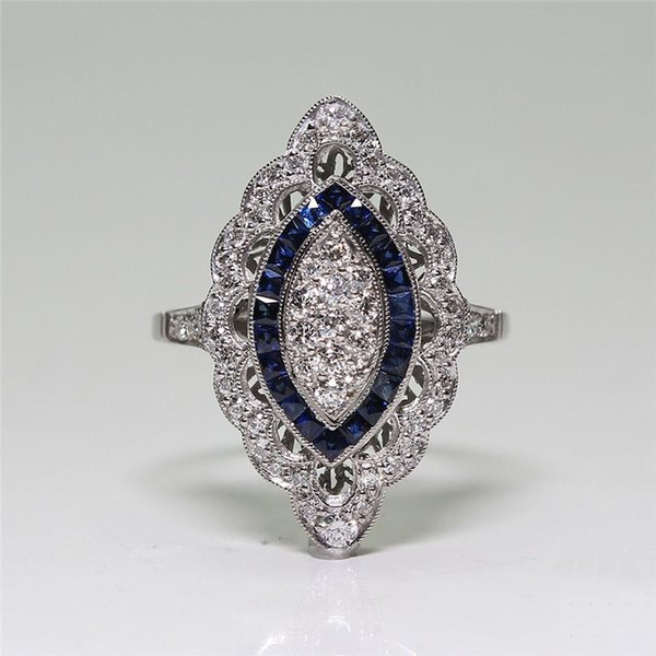 Vintage Blue Stone Ring Luxury Crystal Zircon Silver Color Rings for Women Wedding Engagement Jewelry Anillos Mujer L5Q574
