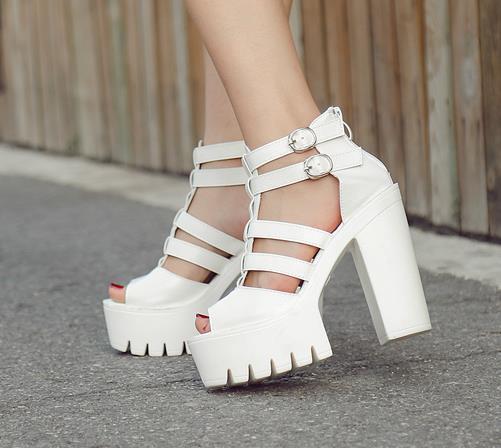 Moda Yaz Kadın tıknaz topuk sandalet punk ayakkabı Sandalet Yüksek Topuklu 13 cm Sandalet Kadın sandalias boyutu 34-39
