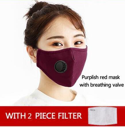 1pcs rouge masque + 2pcs filtres