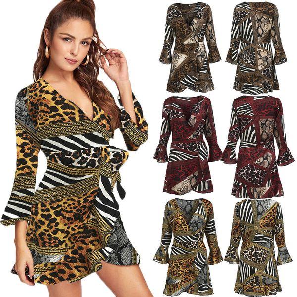 Acquista 2019 Womens Plain Wrap Dress With Flounces Long Sleeve Women  Ruffles Mini Sexy Con Scollo A V Ladies Skater Dress2019 A  34.28 Dal  Aprili  bed703ce7be