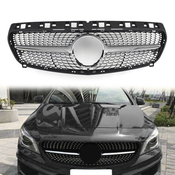 best selling Areyourshop Front Diamond Star Grille Grill For Benz R117 W117 CLA CLA250 2013-2015 Silver Fornt Upper Grille Car Accessories