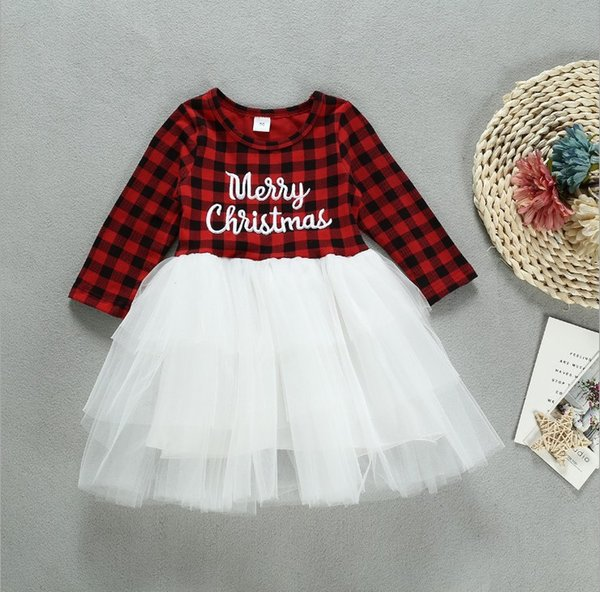 Baby Girls Ins Merry Christmas Ball Gown Dress Childrens Fashion Classical Plaid Patchwork Tulle Dress Kids Elegant Tutu Dress