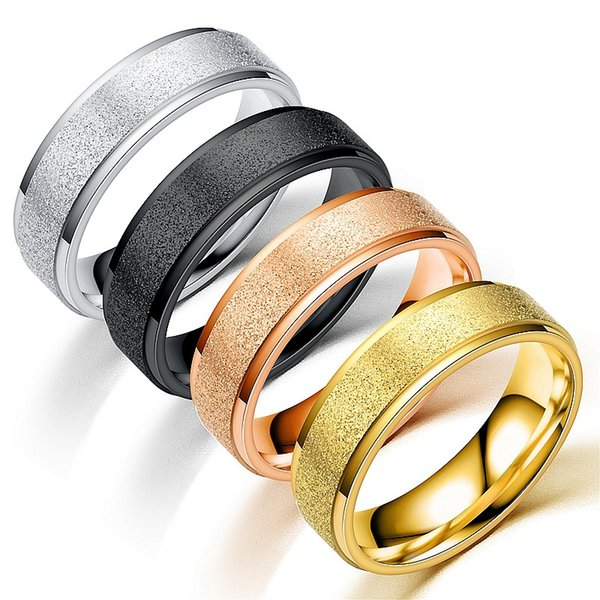 Never Fade Stainless Steel Frosted Rings For Women Men Fashion Jewelry Lovers Gold Silver Black Ring Christmas Gift