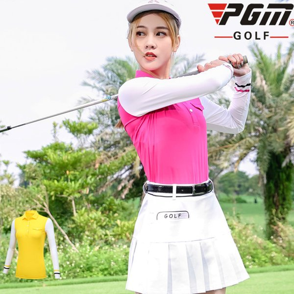 Pgm Clothes Women Top Polo Shirt Long Sleeve Tennis Tshirt Dry Fit Striped Training Sportswear Stand Collar Golf Apparel D0498