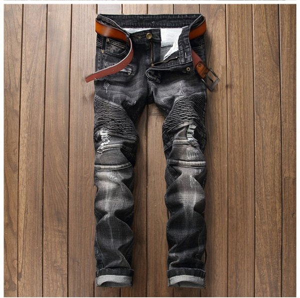European American Style fashion brand Vintage men jeans luxury black Men's denim trousers Slim Straight hole jeans for men