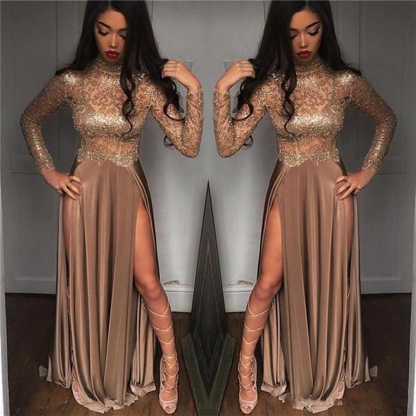 Sexy Gold-Abschlussball-Kleider Bloße lange Hülsen-Ausschnitt Lange Abendkleider Side Split-Partei-Abnutzung Vestido