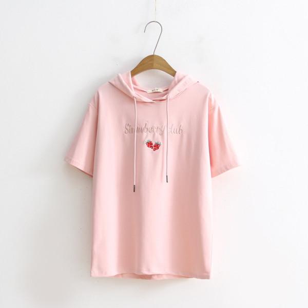 Été Mignon T-shirts Femmes Mode Lâche À Capuche À Manches Courtes Lettre Broderie Douce Top Tees Étudiant Kawaii Coton Camiseta